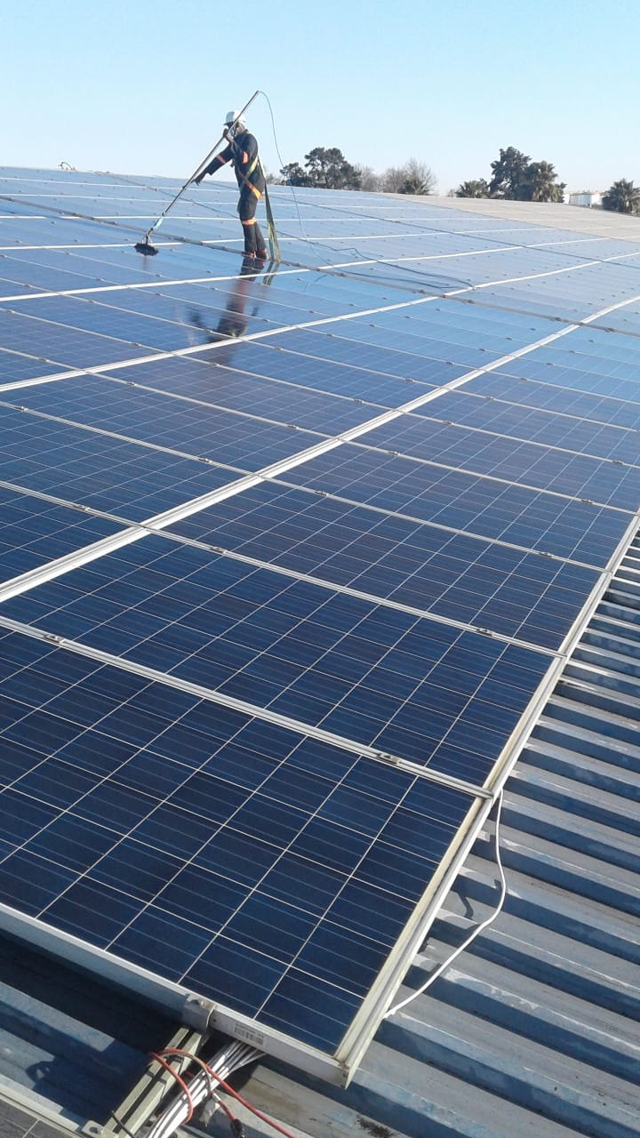 During Solar Panel Cleaning